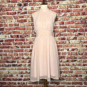 Azalea Pink Chiffon Black Dot Sleeveless Dress